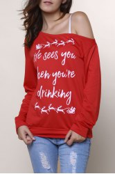 Stylish Skew Neck Letter Pattern Long Sleeves Sweatshirt For Women