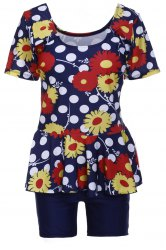 Sweet U-Neck Flower and Polka Dot Print Short Sleeve Swimsuit For Women