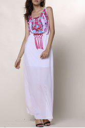 Ethnic Style Round Collar Sleeveless Printed Women's Dress - WHITE