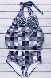 Women's Sexy Plaid Plus Size Two Piece Swimwear -