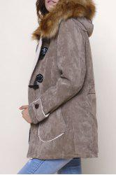 Retro Style Single Breasted Hooded Fur Collar Solid Color Coat For Men - KHAKI