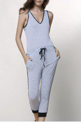 Stylish V-Neck Sleeveless Spliced Drawstring Women's Jumpsuit - GRAY