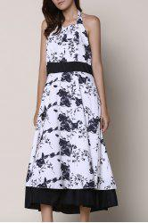 Noble Halter High Waist Floral Printed Pleated Ball Gown Dress For Women