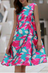 Stylish Slash Neck Flower Print Sleeveless Dress For Women -