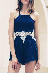Lace Insert Strappy Zippered Romper - CADETBLUE