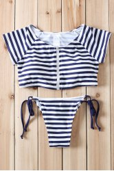 Sexy Scoop Collar Short Sleeve Striped Zippered Two-Piece Women's Swimsuit -