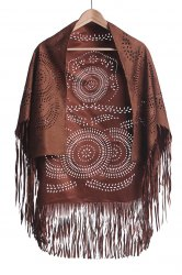 Stylish Half Sleeve Hollow Out Fringed Women's Blouse - KHAKI S