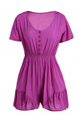 V-Neck Short Sleeve Linen Romper - LIGHT PURPLE S