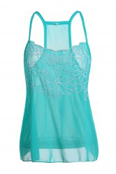 Casual Low Cut Embroidered Flower Chiffon Racerback Tank Top For Women