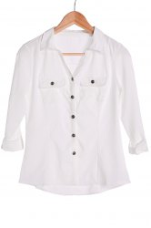Stylish Turn-Down Collar White Single-Breasted Long Sleeve Blouse For Women -