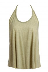 Sexy Spaghetti Strap Solid Color Open Back Women's Tank Top - OLIVE GREEN S