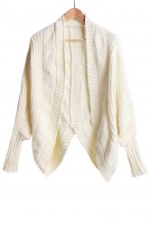 Stylish Collarless Dolman Sleeve Cable-Knit Cardigan For Women -