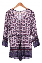 Ethnic Plunging Neck Tribe Print Long Sleeve Romper For Women