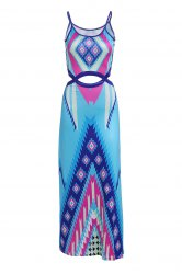 Sexy Colorful Printed Spaghetti Strap Waist Cut Out Dress For Women - LAKE BLUE L