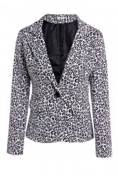 Elegant Lapel Neck Long Sleeve Leopard Print Jacket Blazer For Women - BLACK