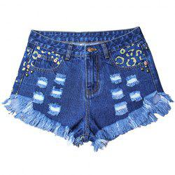 Street Style High Waist Hole Design Rivet Embellish Women's Fringed Denim Shorts -
