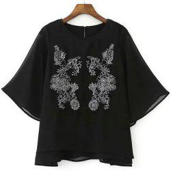 Chic Round Collar Half Sleeve Flower Embroidered Women's Blouse -