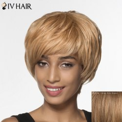 Graceful Short Layered Human Hair Straight Capless Siv Hair Wig For Women -