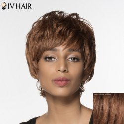 Fluffy Natural Wave Siv Hair Noble Short Capless Human Hair Wig For Women - AUBURN BROWN #30