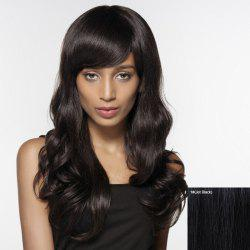Human Hair Shaggy Wave Side Bang Capless Long Siv Hair Wig For Women - JET BLACK