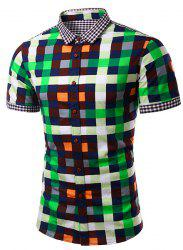 Casual Splicing Checked Turn Down Collar Short Sleeves Shirt For Men -