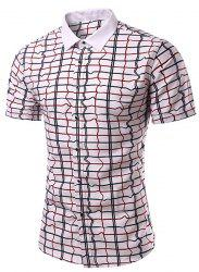 Casual Checked Turn Down Collar Short Sleeves Shirt For Men -