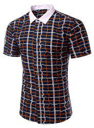 Casual Checked Turn Down Collar Short Sleeves Shirt For Men