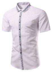 Casual Printing Turn Down Collar Short Sleeves Shirt For Men -