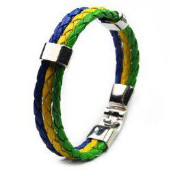 Braided Faux Leather Brazil Bracelet - GREEN