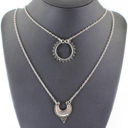 Vintage Multilayered Hollow Out Moon Necklace - SILVER