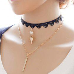 Layered Fake Pearl Bar Rivet Choker -