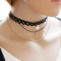 Vintage Layered Faux Pearl Choker Necklace - BLACK