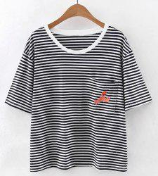 Stylish Scoop Neck Short Sleeves Striped Embroidered Tee For Women -