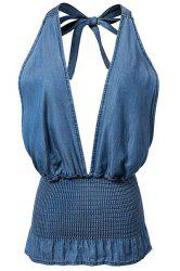 Smocked Denim Halter Plunge Tank Top -