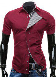 Turn-Down Collar Checked Lining Short Sleeve Shirt For Men - RED