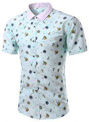 Casual Turn Down Collar Printing Short Sleeves Shirt For Men - GREEN M