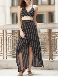 Striped Criss Cross Two Piece Beach Dress