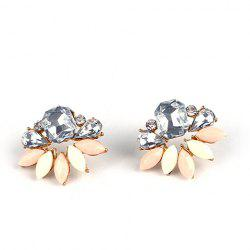 Pair of Water Drop Geometric Faux Crystals Stud Earrings - COLORMIX