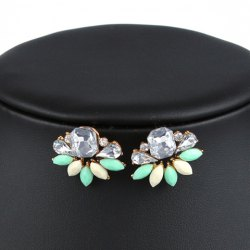 Pair of Artificial Crystals Water Drop Stud Earrings