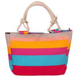 Casual Colorful Stripe and Canvas Design Tote Bag For Women -