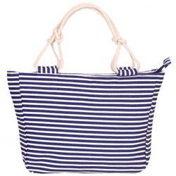 Navy Style Striped and Canvas Design Beach Tote Bag -