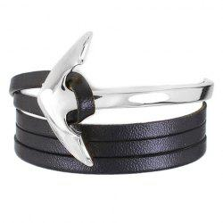 Vintage Layered Faux Leather Anchor Bracelet - SILVER