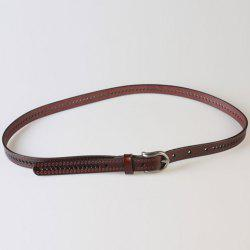Pin Buckle Hollow Ellipse Embossing Skinny PU Leather Belt -