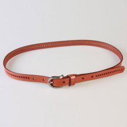 Pin Buckle Hollow Ellipse Embossing Skinny PU Leather Belt - LIGHT COFFEE