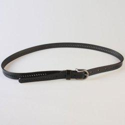 Pin Buckle Hollow Ellipse Embossing Skinny PU Leather Belt - BLACK