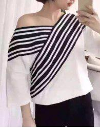 Sweet V-Neck 3/4 Sleeves Stripe Print Women's T-Shirt -