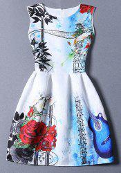 Cute Round Neck Floral Print Flared Women's Dress - BLUE