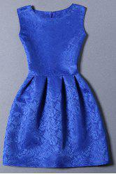 Elegant Sleeveless Round Neck Jaquard Women's Dress - BLUE