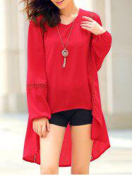 Chic Women's Long Sleeve Red Asymmetrical Blouse