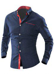 Turn-Down Collar Color Block Spliced Polka Dot Long Sleeve Shirt For Men - CADETBLUE L